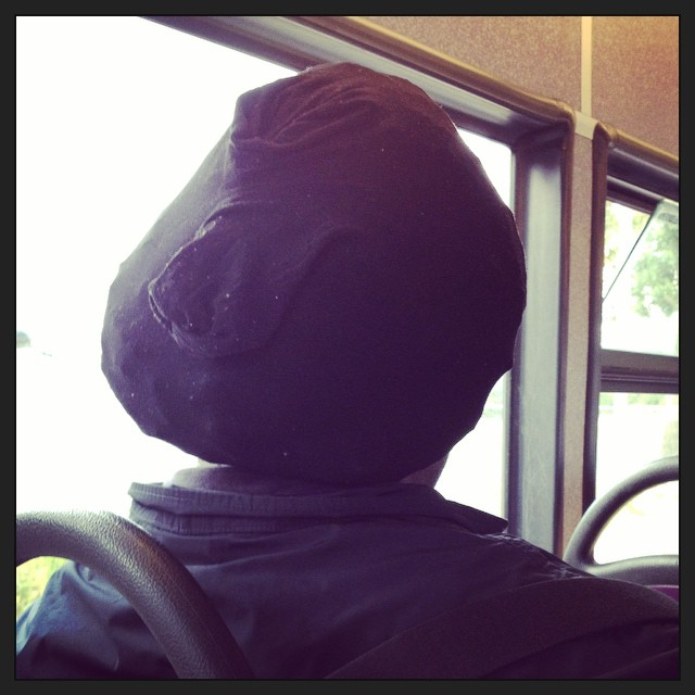 The man in the seat in front of me was wearing a pair of women's opaque tights on his head #onlyinhackney #bus #London