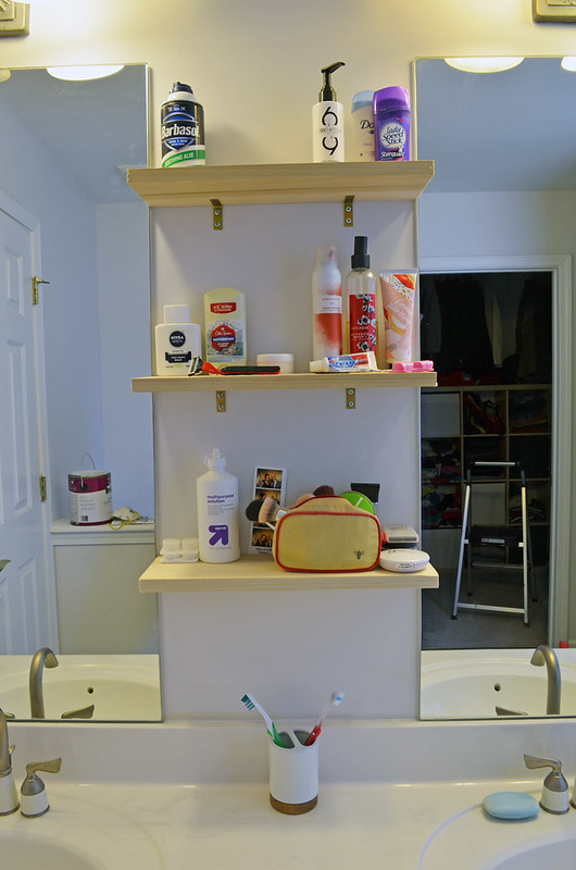 diy mirror cutting and shelves