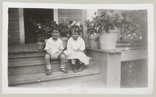 Two children on the steps