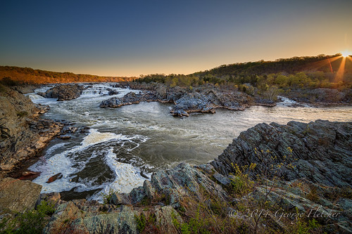 trees sunrise virginia waterfall rocks unitedstates greatfalls mclean
