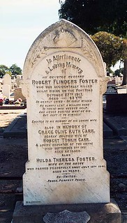 Grave of Robert Flinders and Hulda Theresa Foster at Cheltenham Cemetery