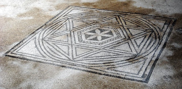 Mosaic floor with Hexagram, a six-pointed geometric star figure - House of Triptolemus at Pompeii, recently opened (2nd century BC until 79 AD)