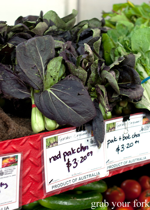 Red pak choi at Queen Victoria Market, Melbourne