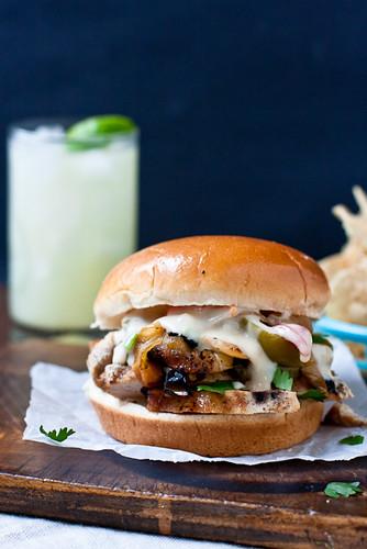 Queso-Smothered Chicken Fajita Burgers
