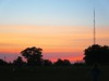 Radio towers at sunset