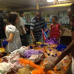 Ronica, Damien, and Zwena working on puppets for Makerfaire Detroit and the Mardis Gras parade