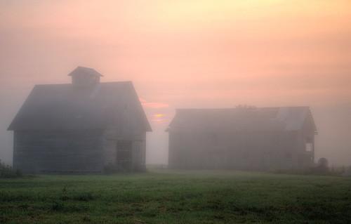 Barn and Crib on on Foggy Sunrise