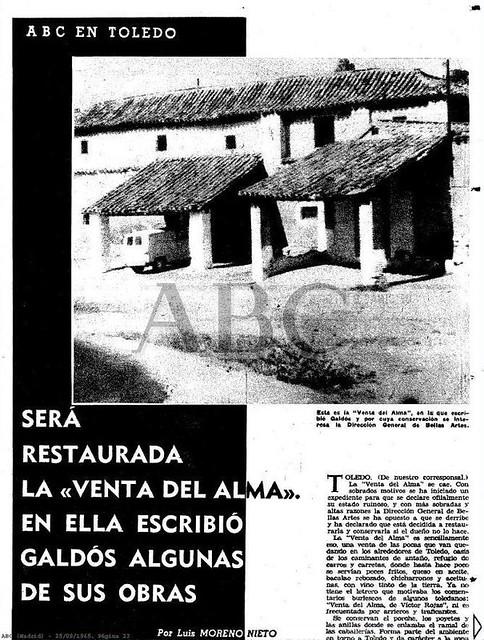 Noticia sobre la rehabilitación de la Venta del Alma. ABC 29 septiembre de 1965