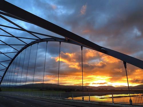 uk sunset sun scotland colours bridges natire thehighlands bonarbridge landsces sunlilight