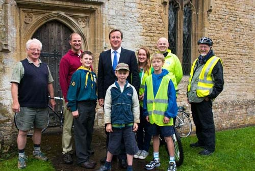 David Cameron with Ride+Stride in 2013  at  St Nicholas, Chadlington, Oxfordshire