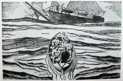 《白鲸》中的插图-捕鲸小艇和捕鲸船