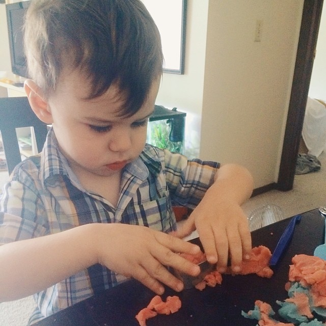 """Dutder makin supper, Mama."" Sweet, now I don't have to. #instaluther #toddler #children #cooking"
