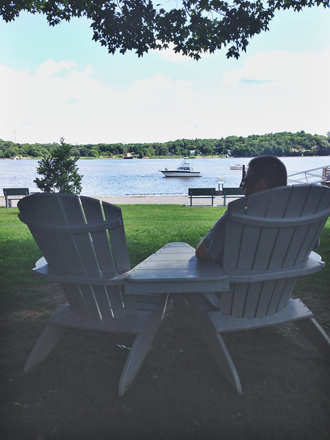 Comfy Adirondacks overlooking Kennebec River, Bath ME