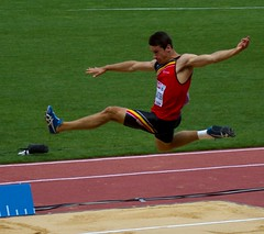 middle-distance running(0.0), sprint(0.0), 110 metres hurdles(0.0), 100 metres hurdles(0.0), 4 㗠100 metres relay(0.0), hurdle(0.0), high jump(0.0), 800 metres(0.0), physical exercise(0.0), hurdling(0.0), athletics(1.0), track and field athletics(1.0), triple jump(1.0), sports(1.0), long jump(1.0), heptathlon(1.0), person(1.0), athlete(1.0),