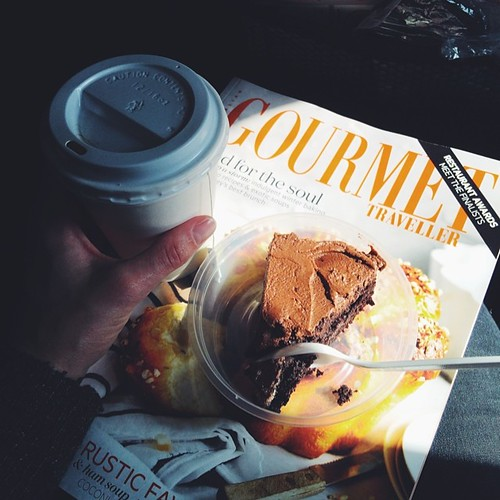 Well this will get me through the first hour or two. As for the other 12...  see you on the flip side!  #tea #cake  #chocolate @gourmettraveller #vscocam #vsco #travel #jjupandaway #qantas #cattleclass
