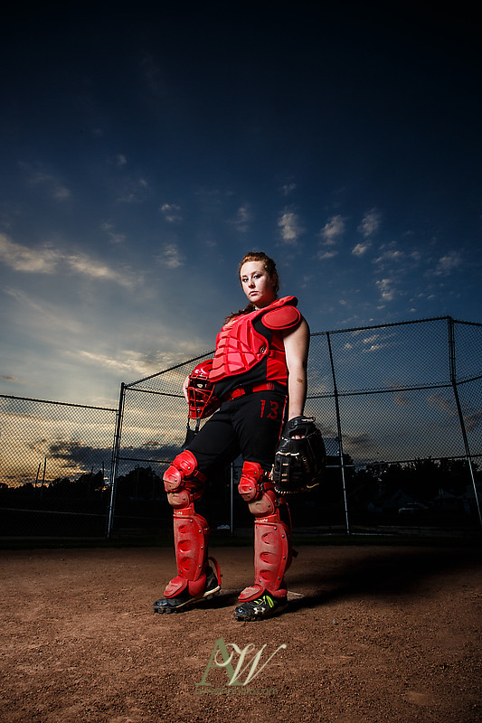 Rochester NY Senior Portrait photographer park field outdoor nature stream river creek softball baseball diamond sports catcher Andrew Welsh Photography Fairport Penfield High School