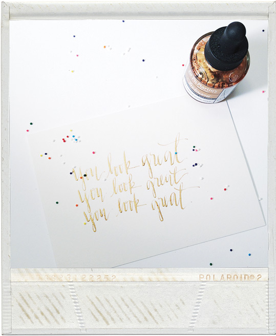 you look great, polaroid, dr ph martin's copperplate gold, affirmation graphics