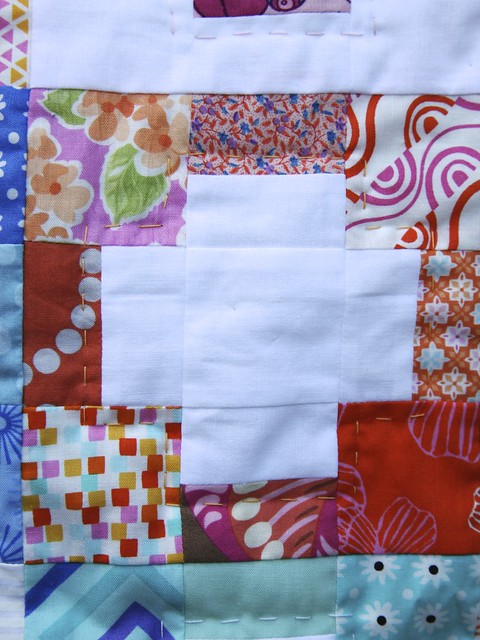 Scrappy Cross Baby Quilt - hand quilting detail