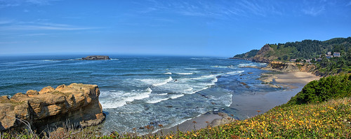 panorama oregon pacific pacificocean hdr gimp water waves harbor depoebay ocean coastline rocks bay whalewatching ottercrest ottercrestloop ottercreststatescenicviewpoint otterrock panoramamaker6 coast easyhdr highway101 gaylene wife scenic oregoncoast outdoor landscape milf seascape shore seaside rock beach wave