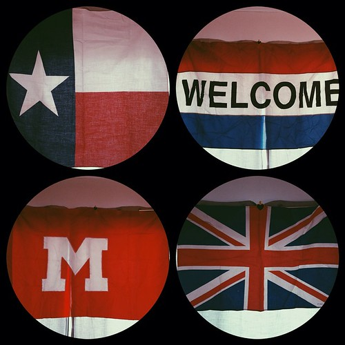 #foundtreasures: Flags! Texas, Welcome, an old Milton High School game day flag, & the good ol Union Jack!