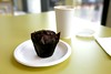 Coffee and a muffin at St Pancras library