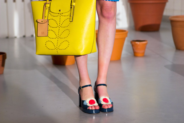Orla Kiely SS15 Clarks Betty Patent shoes with Yellow bag