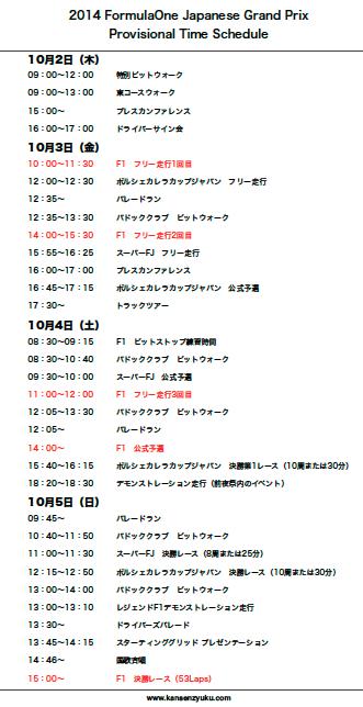 2014F1日本GP暫定タイムスケジュール