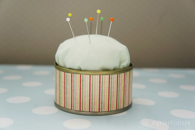 tin can pincushion upcycle