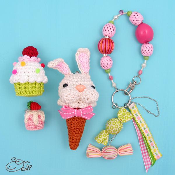 Mini Ice Cream Amigurumi : Amigurumi Bunny Ice Cream Cone Charm Flickr - Photo Sharing!