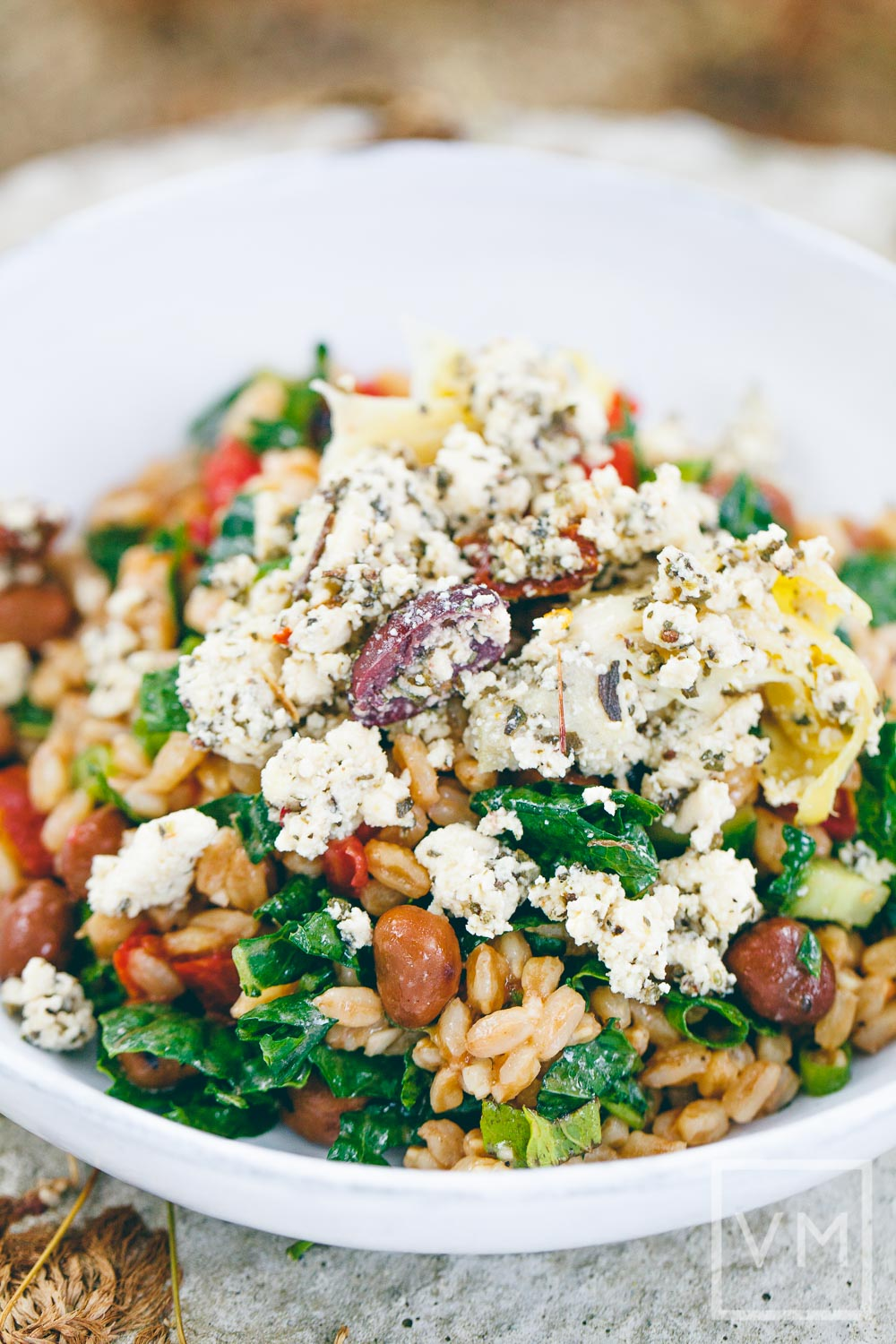 Vegan Farro Salad with Fava Beans and Vegan Feta