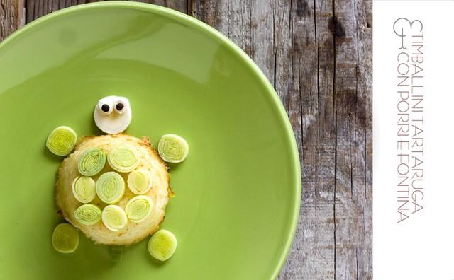 Timballini tartaruga con porri e fontina