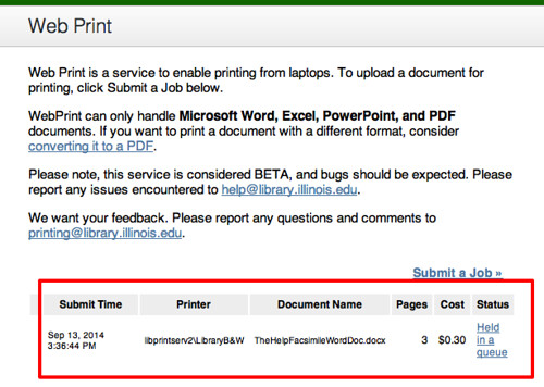 print job status