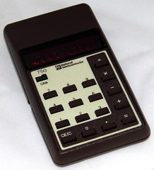 Vintage National Semiconductor (NSC) Model 750 Electronic Pocket Calculator, Red LED Display, Made In Hong Kong, Circa 1978