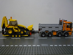 le transport du tractopelle lego