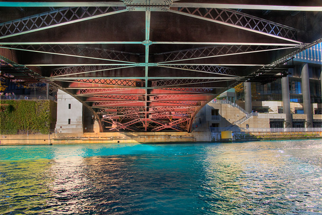 Chicago River dyed blue for Cubs World Series championship parade (under Wabash Bridge)