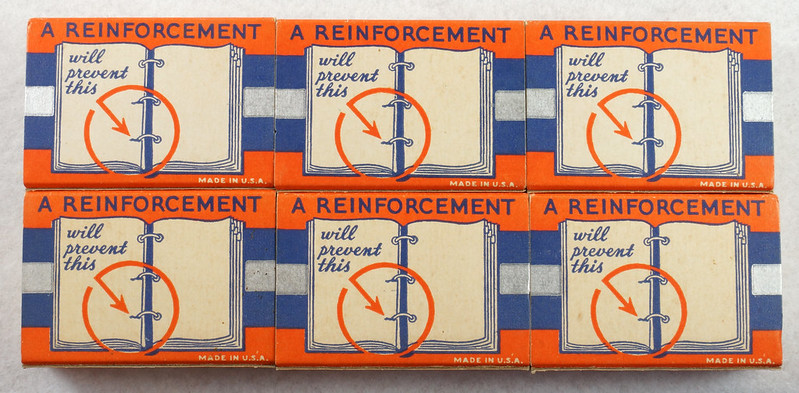 RD14969 6 Boxes of Vintage Sears Gummed Reinforcements 100 No. 2 For Loose Leaf Sheets DSC06760