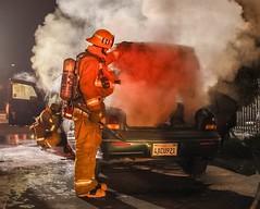 LAFD Extinguishes South LA Auto Fire