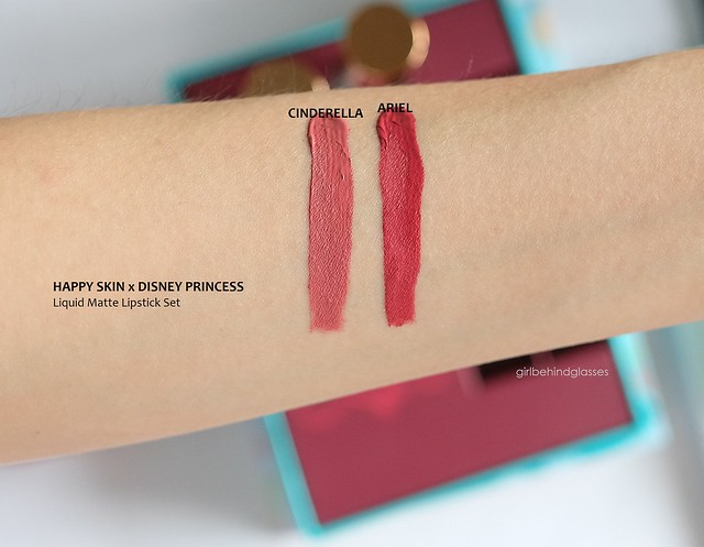 Happy Skin x Disney Princess Liquid Matte Lipstick Set in Cinderella and Ariel swatch