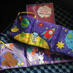 Delighted with one of my own Usborne purchases for the babies & wee ones: Baby's Very first Cot Book: cloth book with ties. Age birth+ £9.99. This is a gorgeous, colourful & cute concertina style book with picture on both sides to attach to baby's cot (wa