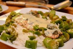 Salmon and Okra on rice