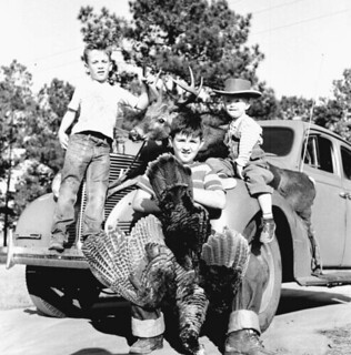 Clark children with deer and turkey from a successful hunt - Tallahassee