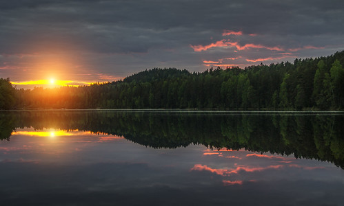sunset summer sun lake water clouds reflections finland landscape evening nikon warm crystal clear d3100