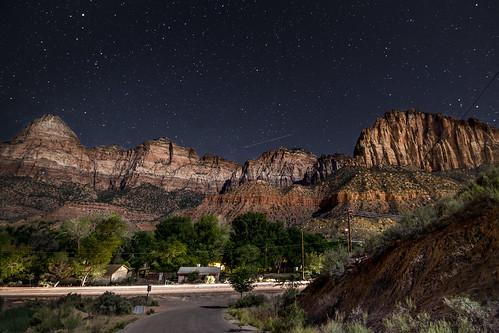 night dark stars utah nationalpark nightshot clear astronomy zion springdale