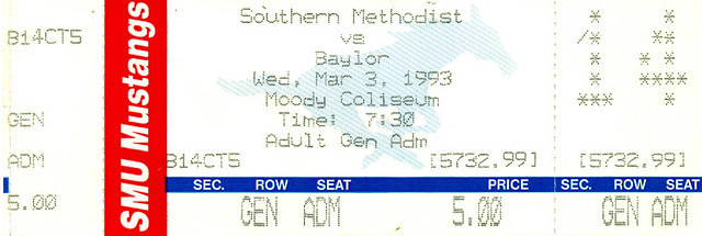March 3, 1993, SMU Mustangs vs Baylor Bears, Men's Basketball, Moody Coliseum, Dallas, Texas - Ticket Stub
