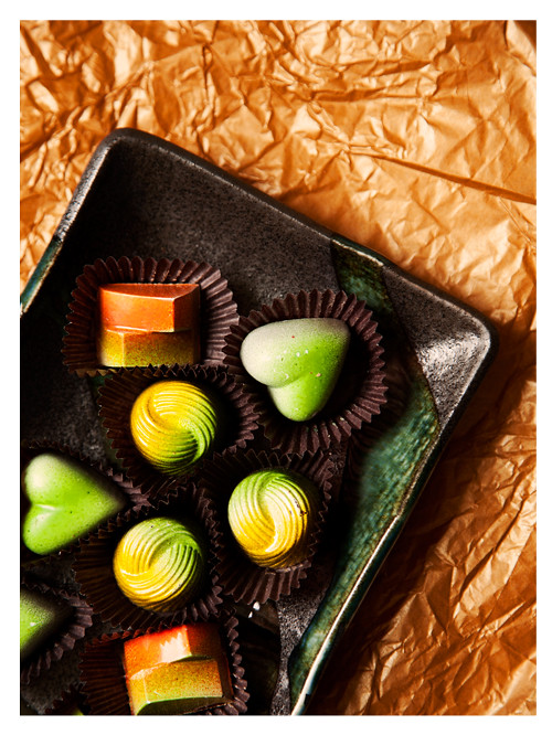Mango, Lemon Verbena, and Mojito Chocolates from Chocolatier Blue