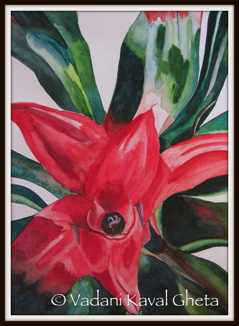 Watercolor reproduction of Georgia O'Keeffe's 'leaves of a plant'