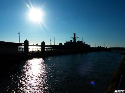 uk sunset england sun water silhouette liverpool docks photography dock waves waterfront bluesky estuary explore gb mersey pierhead merseyside 3graces