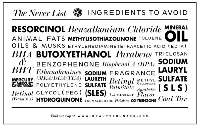 Beauty Counter Never List