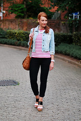 Red Breton stripes, black skinny jeans, cropped denim jacket