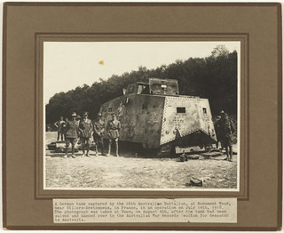 German tank captured by the 26th Australian Battalion at Monument Wood, near Villers-Bretonneux, on 14 July 1918; photograph taken at Vaux 4 August 1918 after the tank had been handed over to the Australian War Records Section